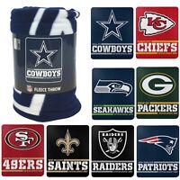 "New PICK YOUR TEAM NFL Split Wide Fleece Throw Blanket Large Size 50""x60"""