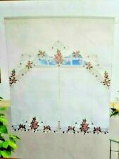 Embroidered Floral Window Curtain Tier Valance Cream Green Purple Pink NEW