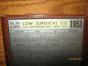 Vintage 1953 Low Surgical Amsterdam Ave. New York