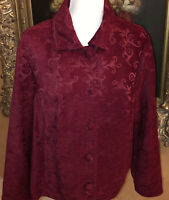 Croft & Barrow Womens Tapestry Scroll Embroidered Jacket Blazer Red Sz XL