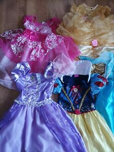 5 Disney Princess Dresses Bundle Costumes, 2 Pairs Shoes Age 4-6 Original Disney