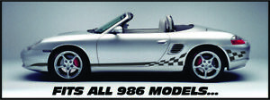 Checker Flag Side Stripe Decal Kit For Porsche Boxster, Cayman, 911, and Garage