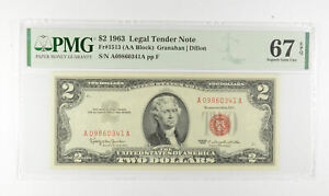 1963 $2 FR1513 (AA Block) Red Seal Graded PMG - 67 EPQ Legal Tender *813
