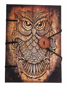 Vintage Leather Journal Antique Handmade Owl Print A5 Paper Leather Notebook