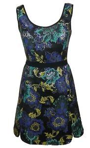 Monsoon Fusion Black Floral Mini Dress A Line Metallised Fibre Summer 8 36 BNWT