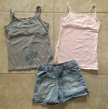 ☀️Girls Outfit Lot Disney Justice Tank Tops X S 7-8 Old Navy Denim Jean Shorts 8
