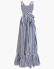 NWT J Crew Striped Mason Ruffle Maxi Dress Maxidress Sz 12 J.Crew Thomas RARE!!