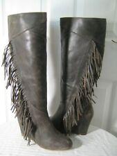 a4428336f240 KOOLABURRA Paradis Leather Knee High Fringe Wedge Boots Women s Size 39    8.5