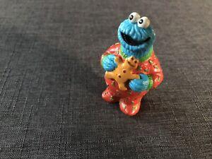 "Sesame Street Cookie Monster Christmas PJs 3"" Tall Toy PVC Figure Applause"
