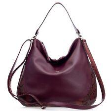 Bruno Rossi Italian Made Burgundy Red Leather Hobo Bag with Embossed Snakeskin