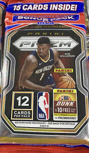 2020-21 Panini Prizm NBA Basketball Cello Pack x1 15 Cards New Factory Sealed