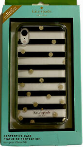 Kate Spade New York Case for  Apple iPhone XR -Clear Black Stripe/Gold Dots