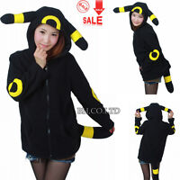 Pokemon Cosplay Anime Costume Umbreon Ears Tail Coat Sweatshirt Hoodie Jacket