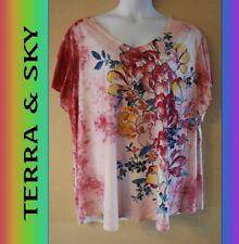 WOMEN'S PLUS SIZE 3X 24W 26W TERRA & SKY TEE - CLOTHING NEW
