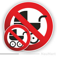 NO BABY CARRIAGE Prohibition warning sign. Sticker / decal (ST149)