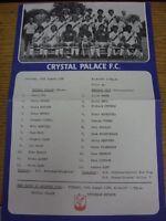 16/08/1980 Crystal Palace Reserves v Norwich City Reserves  (Single Sheet, Folde