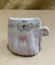 More details for jane hogben rare pottery hand made smiling cat sculpture small glazed terracotta