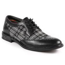 Metrocharm Men's Plaid Lace Up Wing Tip Classic Oxford Fashion Dress Shoes