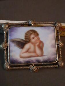 Antike Brosche Biedermeier Engel Malerei auf Porzellan evtl. Schaumgold