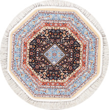 Oriental Geometric Octagon Abadeh Area Rug Acrylic Medallion Diamond Carpet 3x3