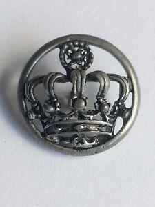 Vintage Crown Button White Metal Pierced 3-D Open Work
