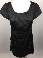 Phoebe Couture Dress Black  Dress Golden Buttons, Snaps & Zippers Pockets Sz 4