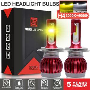 H4/9003 COB LED Headlight Bulb 3000K Low + 6000K High Beam Dual Light 6400LM 60W
