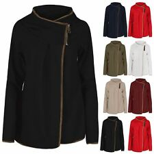 Ladies Gold Zip Cape Cardigan Womens Full Sleeve Suede Edges Textured Shawl Top