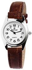 Armbanduhr Damen Classique Lederimitations-Armband braun silber Quarz Wristwatch