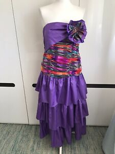 Ronnetta Purple Vintage Dress Prom Party Check Size S Ruched Strapless Bow