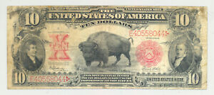 nice looking $10 Series 1901 United States Note with Bison design on front