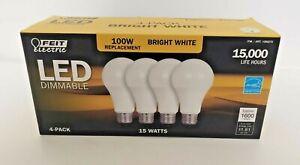4 Pack Of FEIT 100 Watt LED Bulb uses 15W • 1600 Lumens