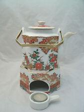Vtg Arita IMARI PEACOCK Tea Pot Brass Handle & Warmer Stand w/Tea Lite Holder EC