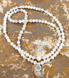 Moonstone Mala Beads 108 Meditation Prayer Rosary Necklace Bracelet Chakra Reiki
