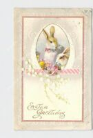 PPC POSTCARD EASTER GREETINGS BUNNY RABBITS WITH CHICKS AND FLOWERS EMBOSSED