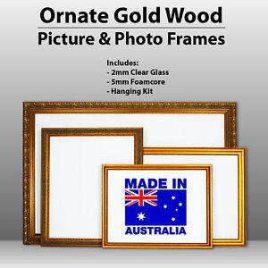 Wooden Ornate Gold, Classic gold photo frame A0, A1, A2, A3, A4,  Perspex