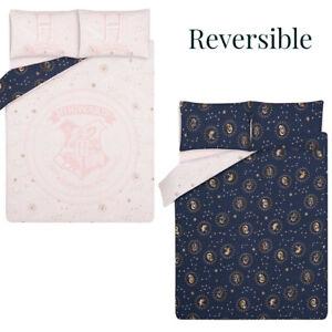 Harry Potter Hogwarts Reversible King Size Duvet Bed Set Pink Blue George New