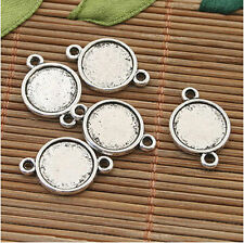 30pcs Tibet silver alloy two side round cabochon settings/connector pendant
