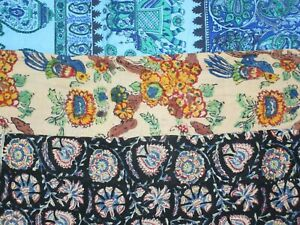 Vintage 1960's Abstract Tapestry Lot of (3) Cotton All Over Print Nature Art