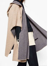 ZARA CAPE PONCHO WITH HOOD JACKET COAT MANTEL JACKE KAPUTZE ONE SIZE M 6873/145