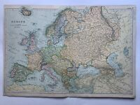 1908 Europe Original Antique Map by G.W. Bacon