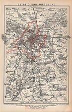 Leipzig u. Umgebung Rötha Taucha Zwenkau Mölbis Pönitz  historischer Plan 1894