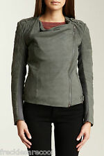 NWT MUUBAA ALBANY QUILTED LEATHER BIKER JACKET GREY 8 M UK 12