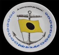 Porcelaines Champs Elysees Paris French CODE DE LA MER Flag Nautical Plate #6