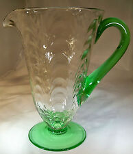 RARE MORGANTOWN BARRY #37 PALM OPTIC 48-OUNCE VENETIAN GREEN FOOTED PITCHER!