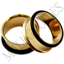 "0860 Gold Single Flare Flesh Tunnels Earlets Big Gauges 3/4"" Plugs 20mm PAIR"
