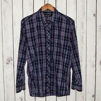 Jared Lang Men's Button Front Shirt Blue Purple Plaid Size Medium Cotton