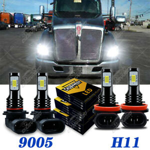 For Kenworth T680 T880 2013-2019 -4PCS LED Headlight Kit Bulbs High / Low Beam