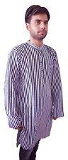Men Kurta Summers Shirt 100% Cotton Traditional Stripe Print Indian Ethnic