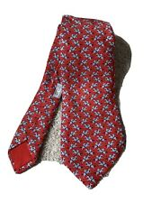 Hermes Paris Silk Red Blue Jockey Horse Tie Model 5321 TA